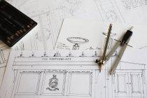 Дизайн чертежей для мебели — стоковое фото