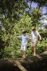 Boys walking along log — Stock Photo