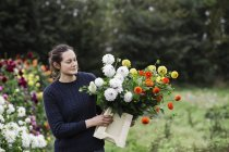 Woman working in organic flower nursery — Stock Photo