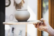 Prefired newly thrown pot — Stock Photo