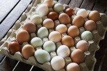 Лоток из свежих органических яиц — стоковое фото