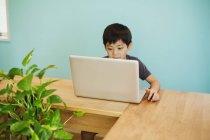 Ragazzo che per mezzo di un computer portatile in classe — Foto stock