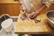 Chef working in a small commercial kitchen — Stock Photo
