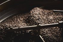 Drum of roasting coffee beans — Stock Photo