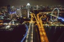 Illuminated city at night — Stock Photo