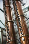 Tall copper distillery chambers — Stock Photo