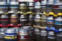 Stacks of metal beer kegs — Stock Photo