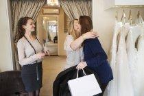 Women in a wedding dress shop — Stock Photo