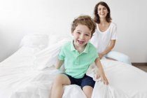 Laughing boy with mother — Stock Photo
