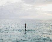 Человек встать, гребля в спокойной воде на закате в океане — стоковое фото