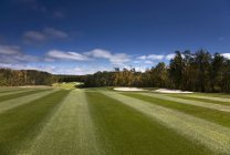 Green and sunny fairway at golf course in country of Saskatchewan, Canada. — Stockfoto