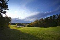 Fairway verde e ensolarado no campo de golfe país . — Fotografia de Stock