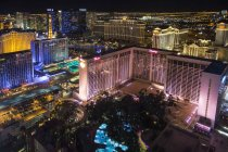High angle view of Las Vegas with illuminated hotel and casino. — Stock Photo