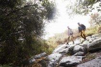 Deux jeunes hommes transportant des sacs à dos lors d'une randonnée dans la forêt. — Photo de stock