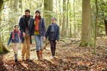 Family in warm coats walking hand in hand in beech woods in autumn. — Stock Photo