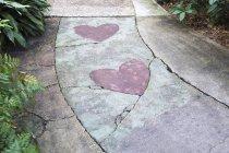 Розовое сердце формы, встроенных в поверхность дорожки. — стоковое фото