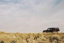 Donna in piedi di aprire lo sportello posteriore del veicolo in campo. — Foto stock