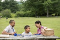 Family sitting with plates on picnic table in woodland. — Stock Photo