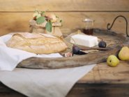 Served rustic table with bread, apples and cottage cheese. — Stock Photo