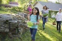 Familie trägt Körbe und Schalen mit Lebensmitteln über den Rasen im Bauerngarten. — Stockfoto
