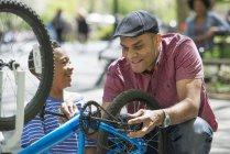 Батько і син, ремонт велосипедів в Сонячний парк. — стокове фото