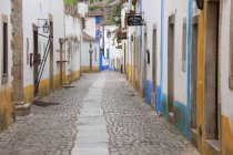 Quiet narrow street of traditional houses in village of Sonega, Portugal. — Stock Photo