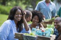 Женщина улыбается и смотрит в камеру с друзьями на стол для пикника в саду сельской местности. — стоковое фото