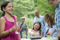 Family with pre-adolescent children having outdoor picnic in garden. — Stock Photo
