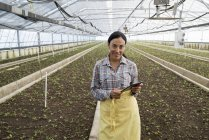Young woman in apron holding digital tablet in greenhouse of plant nursery. — Stock Photo