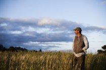 Uomo in piedi guardando oltre raccolti e campi a Santa Cruz al tramonto . — Foto stock