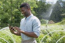 Young man using digital tablet at organic horticultural farm nursery. — Stock Photo