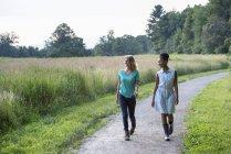 Двох жінок, що йдуть по сільській шляху з полем. — стокове фото