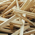 Pile of wooden studs for construction, full frame — Stock Photo