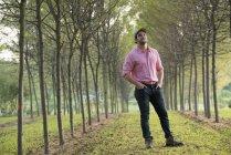 Homem em pé na avenida das árvores e olhando para cima . — Fotografia de Stock