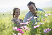 Mature man and girl looking at flowers in farm field. — Stock Photo