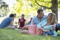 Couple reclining on green grass with friends sitting under tree in background. — Stock Photo