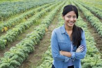 Woman standing with arms crossed in front of rows of curly green vegetable plants on organic farm. — Stock Photo