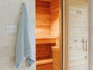 Sauna de madeira tradicional em Dallas, Texas, EUA — Fotografia de Stock