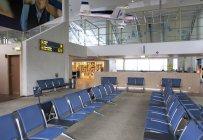 Sitting area in empty airport of Tallinn airport, Estonia — Stock Photo