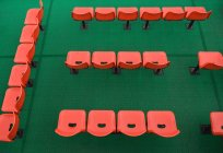 Orange chairs rows on green carpet, high angle view — Stock Photo