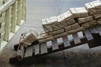 Stacked mail packages, Mumbai, Maharashtra, India — Stock Photo