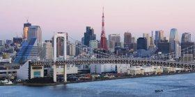 Regenbogenbrücke und Skyline von Tokio, Japan — Stockfoto