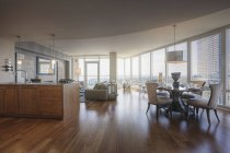 Offener Grundriss in Luxus-Hochhauswohnung — Stockfoto