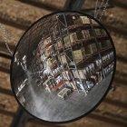 Boîtes en carton sur des étagères dans le reflet d'entrepôt dans le miroir — Photo de stock
