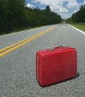 Red suitcase abandoned in road in woodland, Georgia, USA — Stock Photo