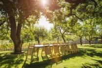 Sedie pieghevoli appoggiate sul tavolo in cortile con retroilluminazione — Foto stock
