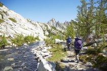 Povos que caminham perto do rio remoto, Washington, EUA — Fotografia de Stock