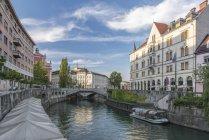 Будинки та пішохідний міст через міський канал, Любляна, Центральна Словенія, Словенія — стокове фото