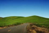 Rural road through rolling green hills, California, USA — Stock Photo