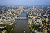 Aerial view of London cityscape and river, England — Stock Photo